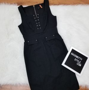 WHBM Lace Up Corset Look Little Black Dress Size